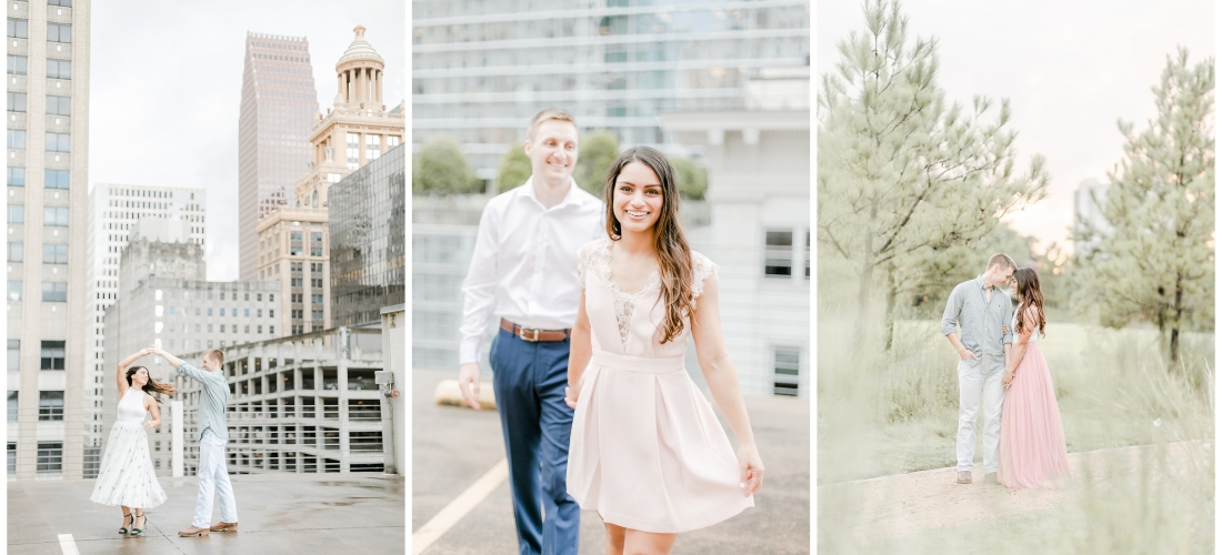 Downtown Houston Engagement Session with Tulle skirts, Rooftop Houston skyline engagement session