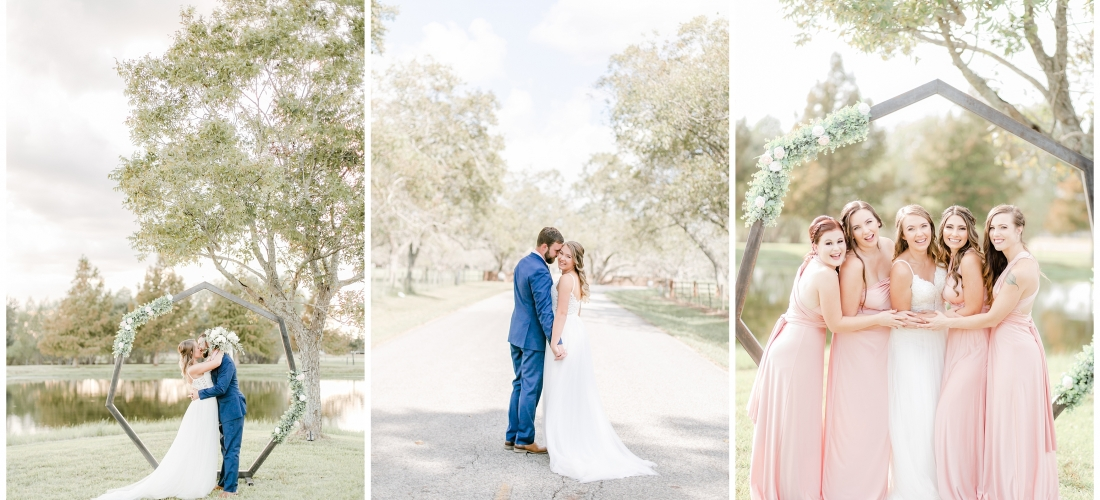 Backyard Home wedding in Fulshear Texas with blush and navy details, golden sunset romantic portraits