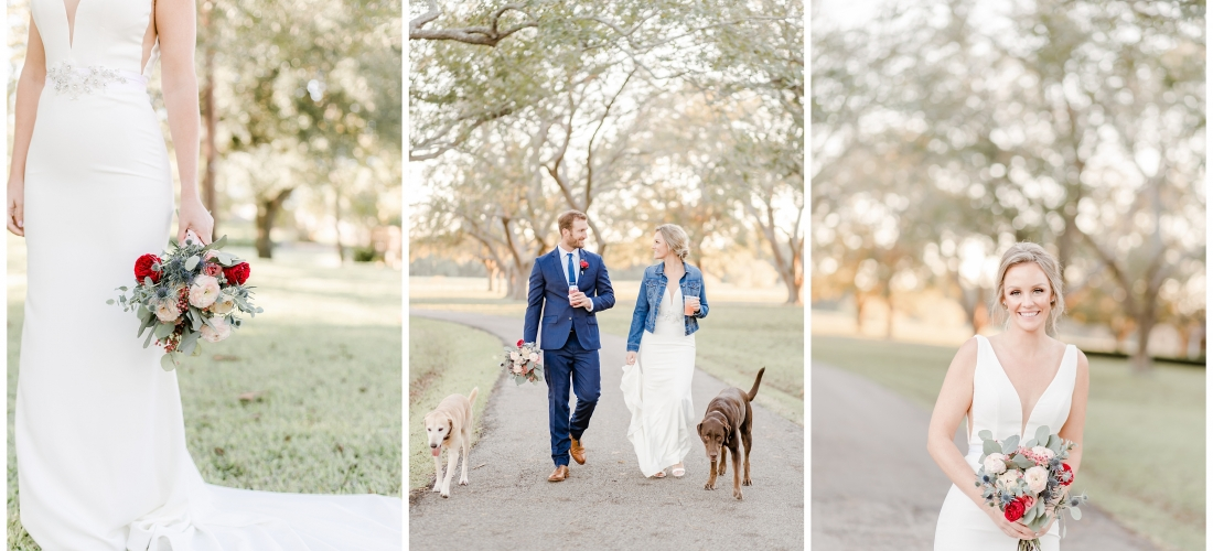 Autumn wedding at the Orchard at Caney Creek in Houston Texas with cranberry, merlot, and blush details, denim jackets, and puppies