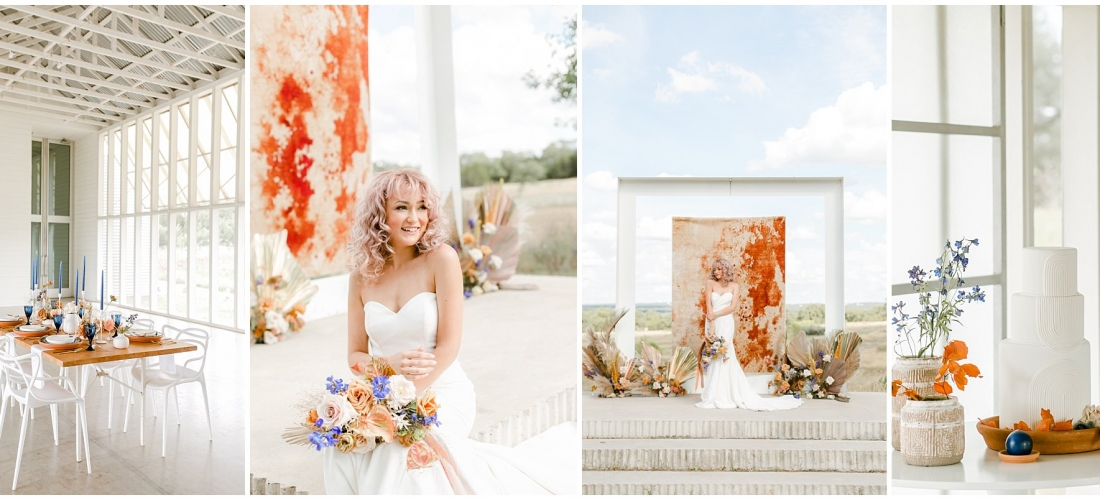 Terra Cotta Boho MOdern styled shoot at Prospect House Dripping Springs Texas bridal wedding photoshoot